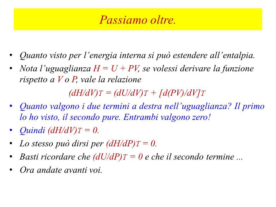 (dH/dV)T = (dU/dV)T + [d(PV)/dV]T